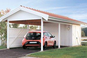 Carport 25 kvm, garage med stående panel