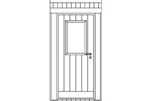 Fasad dörr med fönster vänster (5812) ej spröjs 200x300 Hemsida