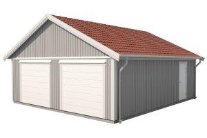 dubbelgarage 65 kvm, garage två bilar, garage byggsats, dubbelgarage förråd