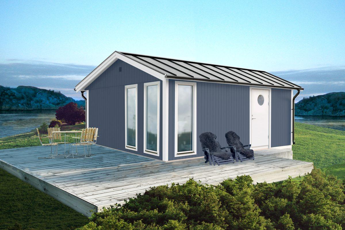 Attefallshus Vibo Kicki 25 kvm – höga fönster - ViboStugan : obehandlade fönster : Fönster