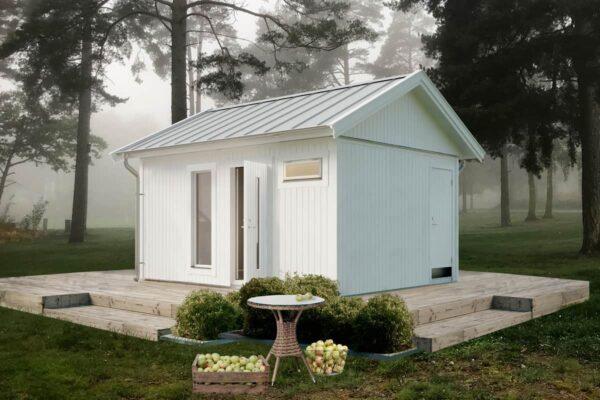 Attefallshus 20 kvm Vibo Njuta 20-2 byggsats gästhus gäststuga sadeltak fritidshus förråd