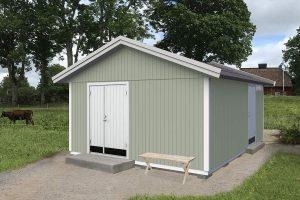 Attefallshus 25 kvm Vibo Anna byggsats sadeltak förråd redskapsbod trädgårdsförråd förrådsbod