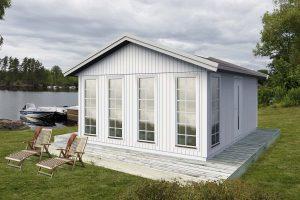 Attefallshus 25 kvm Vibo Ellie byggsats gästhus gäststuga sadeltak fritidshus