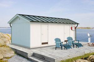 Attefallshus 22 kvm Vibo Felicia byggsats förråd redskapsbod trädgårdsförråd förrådsbod sadeltak