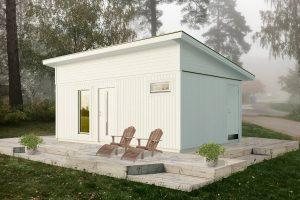 Attefallshus 25 kvm Vibo Njuta Funkis 25-2 byggsats gästhus gäststuga fritidshus förråd