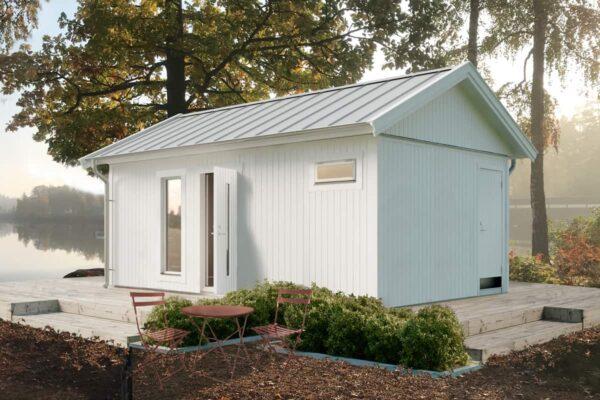 Attefallshus 25 kvm Vibo Njuta 25-1 byggsats gästhus gäststuga sadeltak fritidshus förråd