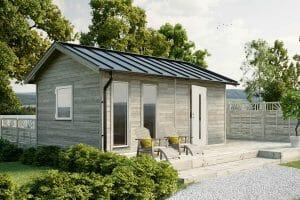 Attefallshus 25 kvm Vibo Njuta 25 liggande panel byggsats gästhus gäststuga sadeltak fritidshus